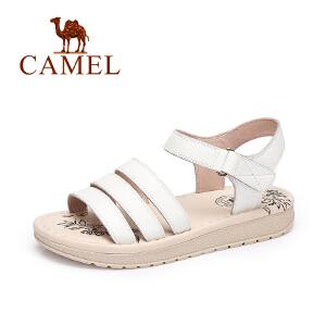 Camel/骆驼女鞋 2017春夏新款休闲简约女凉鞋露趾魔术贴凉鞋