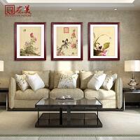 中式客厅装饰画沙发背景墙三联壁画餐厅挂画郎世宁花鸟图有框国画SN3897 成品尺寸60*80 纯实木外框+有机玻璃