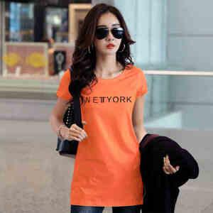 夏季女装韩版上衣纯棉纯色短袖女t恤中长款半袖修身体恤打底衫WK0889