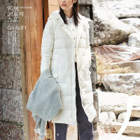 AMII2018冬季新款女装文艺宽松纯色长过膝薄款羽绒服连帽保暖