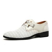 夏季商务正装凉鞋男休闲鞋漏洞镂空洞洞鞋男士皮凉鞋透气皮鞋 白色5