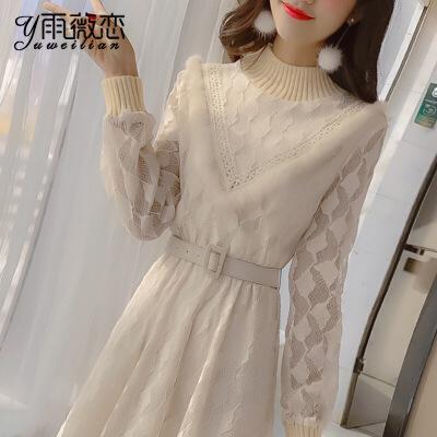 蕾丝连衣裙秋冬装女装2018新款潮冬季长袖打底裙套装裙子冬裙加绒
