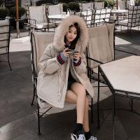 工装外套女加厚2018冬季新款女韩版宽松bf棉袄收腰中长款棉衣 米白色 S