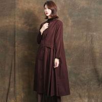 外套女秋季春秋风衣大码女装200斤中长款韩版女士宽松红色 S 75-99