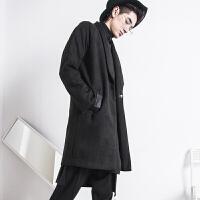 壹半风衣男中长款帅气韩版冬季潮牌发型师外套潮新款麂皮披风大衣 黑色 X