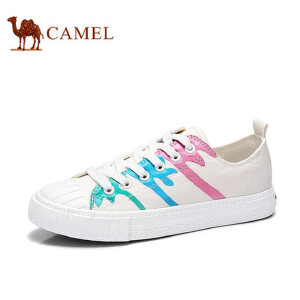 骆驼牌女鞋 2017新款舒适系带低帮帆布鞋女拼色单鞋