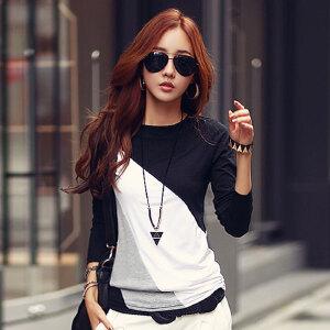 卡茗语韩版秋季女装打底衫圆领拼色女士纯棉显瘦修身长袖T恤上衣潮