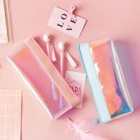 尼家文具日系可爱糖果透明镭射铅笔袋女韩国小清新学生文具袋笔袋