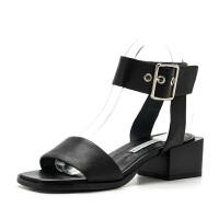 D:Fuse/迪芙斯夏季牛皮露趾粗跟中跟女鞋凉鞋DF72115242