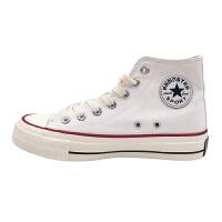韩国街拍万年典款百搭复古1970s复刻白色高帮帆布鞋女 白色高帮