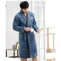 冬季加厚加绒三层保暖法兰绒睡袍长款冬天浴袍珊瑚绒夹棉睡衣男士