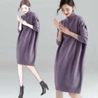 长款毛衣女2018新款秋冬毛衣裙过膝百搭套头韩版中长款针织打底衫