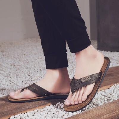 拖鞋男凉鞋夏季皮品牌新品潮流男鞋一字拖露趾镂空防水防滑沙滩鞋