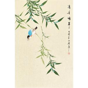 河南美术家协会会员许鲁四尺三开花鸟画gh04824