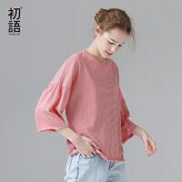 初语夏季新品条纹蝙蝠型宽松中袖T恤女七分袖圆领印花纯棉体恤