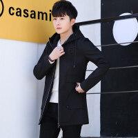 青少年休闲外套男春秋韩版潮流帅气连帽夹克男士中长款风衣修身型