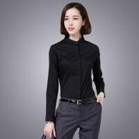 立领职业加绒衬衫女长袖秋冬韩版衬衣修身黑色保暖上衣