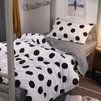 【人气】学生宿舍寝室床单人1.2m三件套被套被子四件套被单床上用品粉红豹【】 米白色 K波点黑