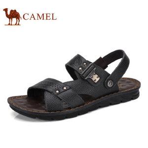 camel骆驼男鞋  夏季新品沙滩鞋 男士透气夏季牛皮露趾厚底凉鞋