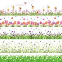 踢脚线墙贴画 防水自粘客厅腰线墙角线贴纸可移除植物花卉装饰画