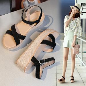 专柜同款【真皮】夏季坡跟反绒皮松糕凉鞋学生休闲厚底高跟女鞋C19