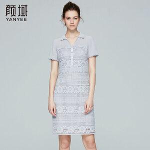 颜域品牌女装2017夏季新款优雅绣花花边短袖衬衫领镂空蕾丝连衣裙