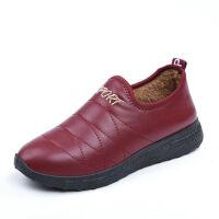 冬季老北京棉鞋女中老年加绒防滑皮面防水妈妈鞋老人软底包跟棉靴