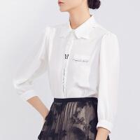LILY2021夏新款女装设计感立体蝴蝶领定位印花七分袖泡泡袖衬衫601