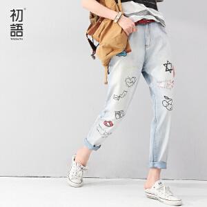 初语夏季新款牛仔裤女长裤 小脚裤潮女 8621815814