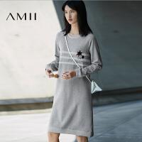 【双十一特价福利款】AMII[极简主义]冬新圆领插肩袖内抓绒直筒长款连衣裙11644126