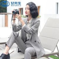 【限时抢购】2019秋季新款长袖千鸟格西服套装OL通勤女装面试外套