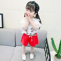 2018新款女童夏装套装宝宝韩版时尚短袖短裤两件套潮小孩夏季衣服 红色 绣花套装
