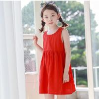 童装夏季韩版女童连衣裙无袖纯棉女孩露背裙