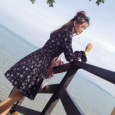 雪纺连衣裙女2017秋装新款碎花中长款长袖裙子潮碎花中长裙