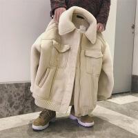 冬季羊羔毛外套男港风chic毛绒棉衣加绒加厚棉袄帅气韩版潮流