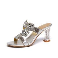 时尚镶钻水晶凉拖鞋2019夏新款高跟女士凉鞋花朵粗跟外穿水钻拖鞋