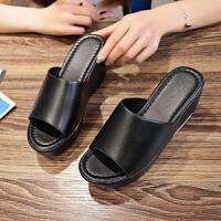 20190918214136030女士一字拖鞋女夏外穿凉拖鞋新款时尚百搭坡跟凉鞋厚底防滑鱼嘴鞋