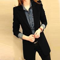 春秋职业装小西装外套显瘦白领西服大码中长款一粒扣西装工作服女 黑色