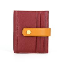 日韩原创山羊皮零钱包女士搭扣卡包皮复古多卡位撞色短款小钱包