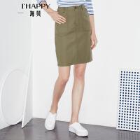 海贝2017年秋季新款女装半身裙 高腰纯棉性感修身包臀裙纯色短裙