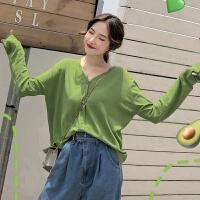 超火牛油果外搭薄冰丝针织开衫女长袖V领空调衫抹茶绿防晒衫夏 均码