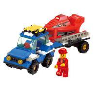 小鲁班积木 经典拼装玩具车积木雪地拖车模型儿童拼接益智积木