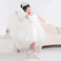 童装 女童 连衣裙 儿童公主裙 拖尾礼服 婚纱裙