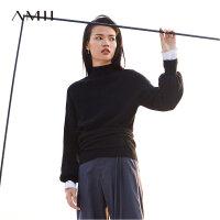 【到手价:408元】Amii极简100%羊毛卡拉扬联名系列2019春季套头上衣纯色高领毛衣女