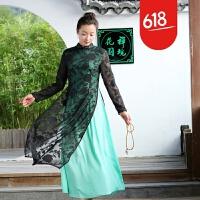 魅儿原创女装中国风盘扣唐装中长款蕾丝连衣裙奥黛改良旗袍 055GH123