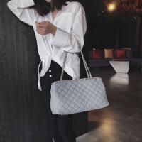 手提包女2018欧美新款夏季链条大容量女包 纯色pu单肩包