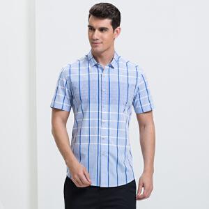 才子男装(TRIES)短袖衬衫 男士2017年新款经典格纹几何拼接时尚休闲短袖衬衫