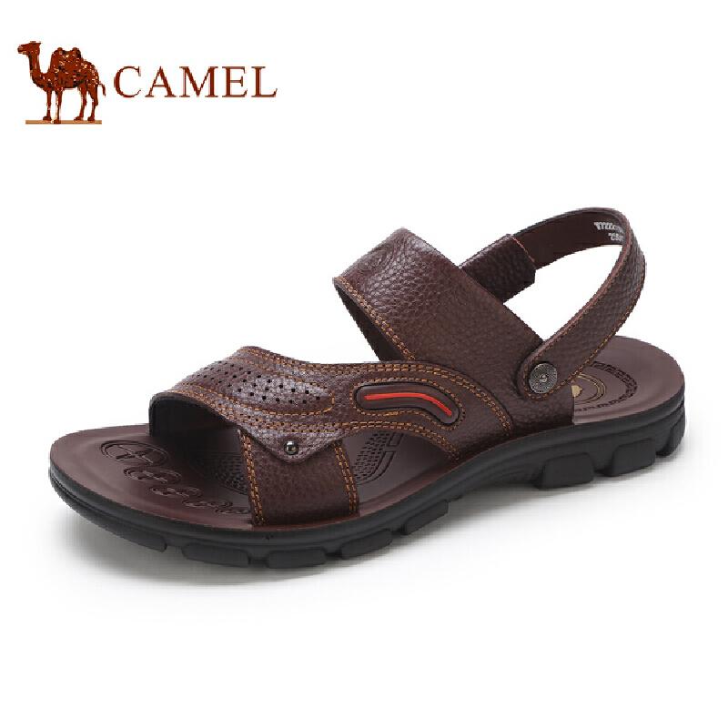 骆驼牌男凉鞋 新品柔软舒适牛皮沙滩鞋便捷休闲男鞋