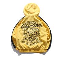 10月 情侣装春外套薄款连帽夹克欧美街头潮牌港风复古外套男 黄色