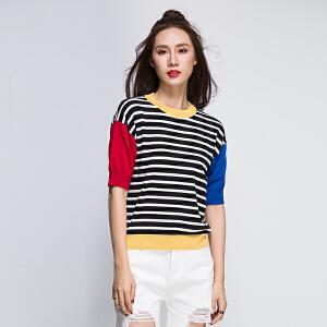 灏领衣尚短袖拼色上衣女2017夏新品个性百搭条纹显瘦韩版宽松T恤